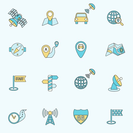 Mobile gps street navigation and travel flat line icons set isolated vector illustration. Vector