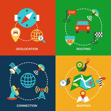 routing: Mobile navigation geolocation routing mapping and connection flat icons set isolated vector illustration
