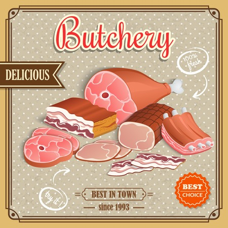 bacon art: Meat label best choice retro butchery poster vector illustration