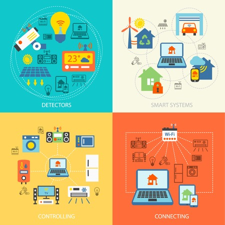Smart home detectors controlling connecting systems icons flat set isolated vector illustration Vector