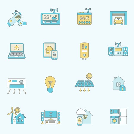 Smart home automation technology security control icons flat line set isolated vector illustration Vector
