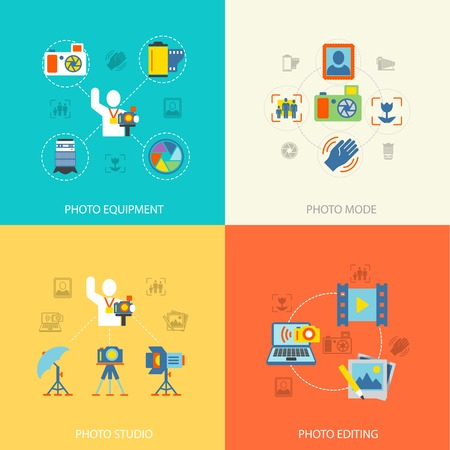 Photography photo equipment mode studio editing flat icons set isolated vector illustration Vector