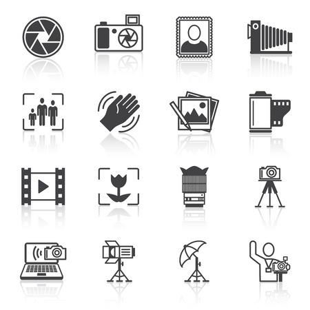 Photography equipment camera photo icons black isolated vector illustration Vector