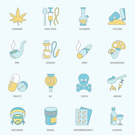 Abuse addictive poison drugs antidepressant icons flat line set isolated vector illustration Vector