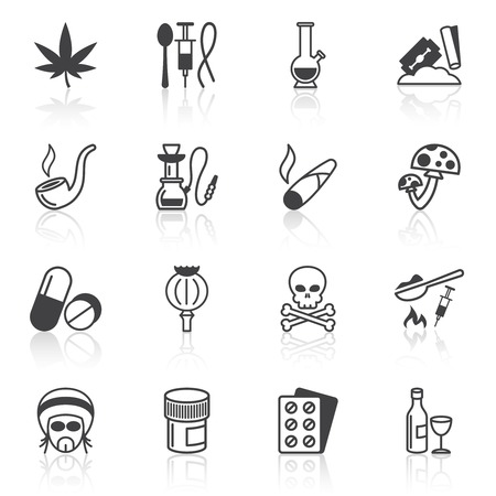 addictive: Abuse addictive poison death drugs antidepressant icons black set isolated vector illustration