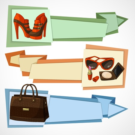 leather goods: Three horizontal women luxury products advertisement banners set with leather footwear bag and cosmetics isolated vector illustration Illustration