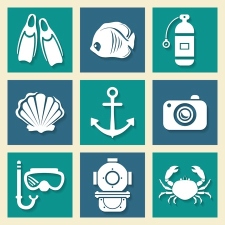 compressed: Nautical sea symbols icons set with anchor crab and underwater diving equipment silhouettes abstract isolated vector illustration