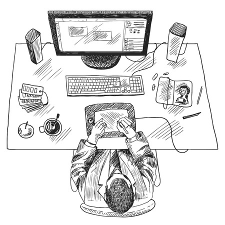 man sitting: Designer work place with top view man sitting on table sketch vector illustration Illustration