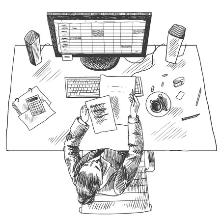 accountants: Accountant work place tools with woman sitting on table top view sketch vector illustration