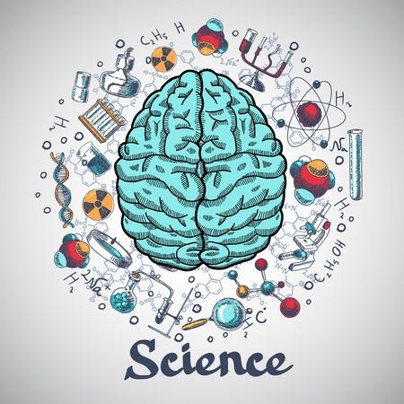 科学概念で人間の脳と物理学と化学のアイコン ベクトル イラストをスケッチします。