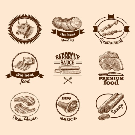 Meat food best quality premium steak decorative labels sketch set isolated vector illustration Vector