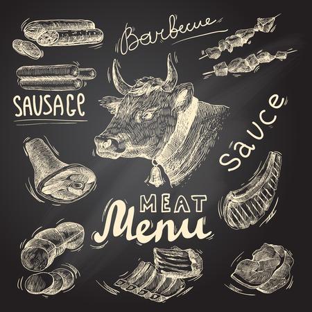 고기 음식 장식 아이콘 바베큐 메뉴 칠판 고립 된 벡터 일러스트 레이 션의 설정