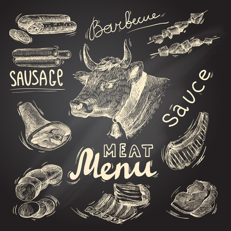 chalkboard: Meat food decorative icons set of barbecue menu chalkboard isolated vector illustration