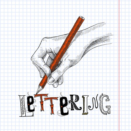 hand pencil: Hand drawing on squared notebook paper with graphite pencil sketch vector illustration
