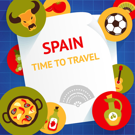 Spain travel tourist attractions time to travel background template vector illustration Vector