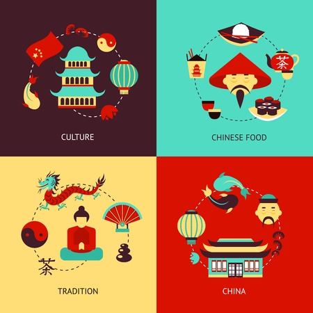 chinese pagoda: China culture chinese food tradition flat icons illustration set isolated vector illustration
