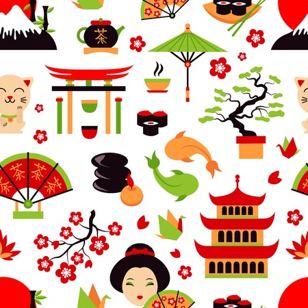 Japan symbols set with traditional food and travel icons seamless pattern vector illustration Vector