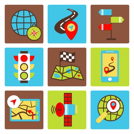 Mobile gps navigation and travel icons set isolated vector illustration Vector