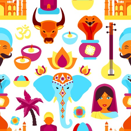 lady cow: India travel culture religion symbols seamless pattern vector illustration