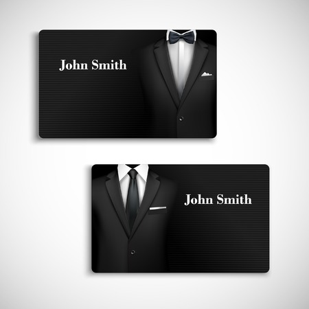Classic design card collection businessman luxury style black suit with shirt, tie and bow-tie vector illustration Vector