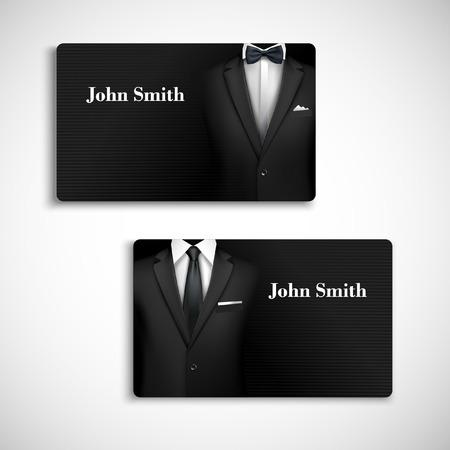 Klassiek design card collectie zakenman luxe stijl zwart pak met overhemd, stropdas en bow-tie vector illustratie Stock Illustratie
