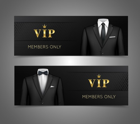 Two horizontal vip privilege members luxury products advertisement black banners set with businessman suits isolated vector illustration Vettoriali