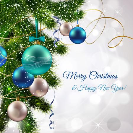 Kerstmis en Nieuwjaar postkaart met den boom tak en decoratie ballen vector illustratie Stock Illustratie