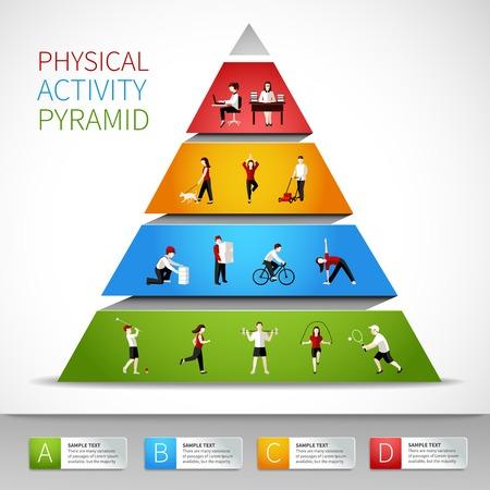 yürüyüş: Insanlarla Fiziksel aktivite piramit inforgaphic vektör illüstrasyon rakamlar Çizim