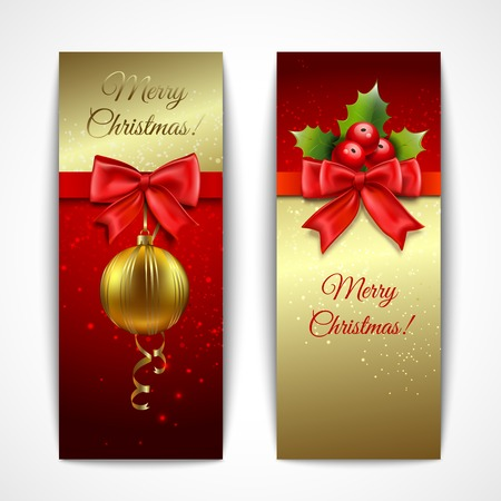 Christmas new year holiday decoration vertical banners set isolated vector illustration Vector