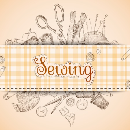 Sewing paper card with dressmaking accessories sketch background vector illustration