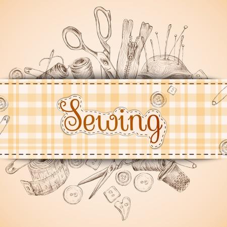 coser: Tarjeta de papel de costura con croquis accesorios de corte y confección de fondo ilustración vectorial Vectores
