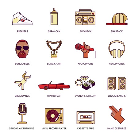 computer dancing: Rap hip-hop singing breakdance music flat line icons set isolated vector illustration Illustration
