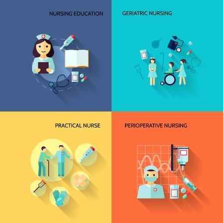 infermiere paziente: Educazione infermiera geriatrica pratiche icone piane servizio medico set illustrazione vettoriale isolato Vettoriali