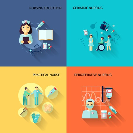 nurse: Nurse education geriatric practical medical service flat icons set isolated vector illustration