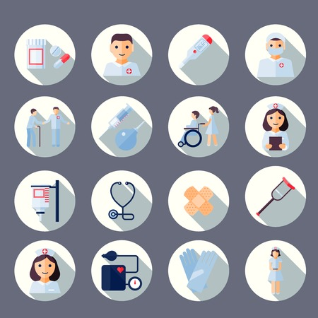 Nurse health care medical first aid icons set isolated vector illustration Vector
