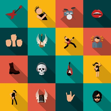 music festival: Rock concert festival music party flat icons isolated vector illustration