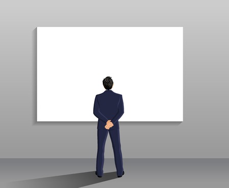 back view man: Businessman in suit full length back view in front of white board vector illustration Illustration