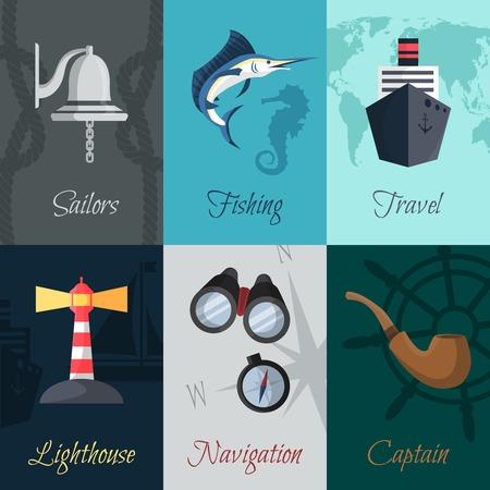 captain hat: Nautical sea travel mini posters sailors fishing travel set isolated vector illustration