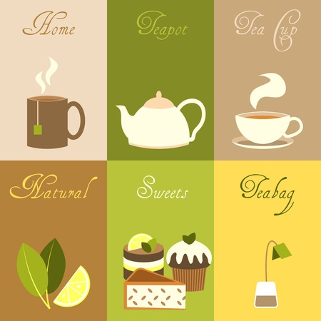 home sweet home: Tea mini posters set with home teapot cup natural sweets teabag isolated vector illustration.