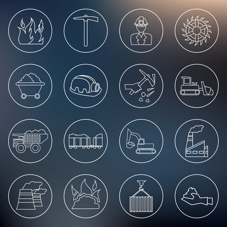 pick axe: Coal machinery factory mining machinery outline icons set isolated vector illustration Illustration