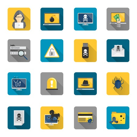 hacker: Hacker and computer safety and protection technology flat button icons set isolated vector illustration