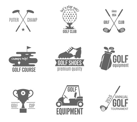 course: Golf club championship and accessories label black set isolated vector illustration Illustration