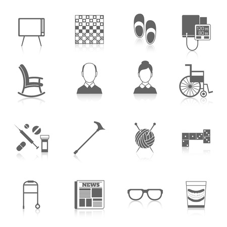 pensionado: Pensionistas de vida iconos de cuidado de ancianos negro conjunto aislado ilustración vectorial