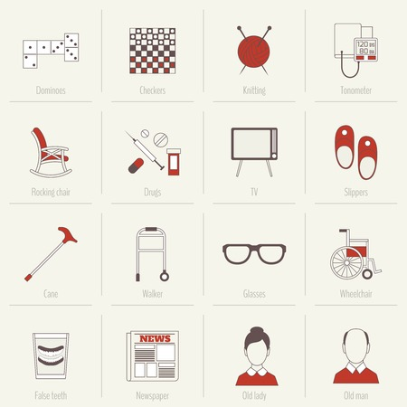 Pensioners life flat line icons set of dominoes checkers knitting isolated vector illustration Vector