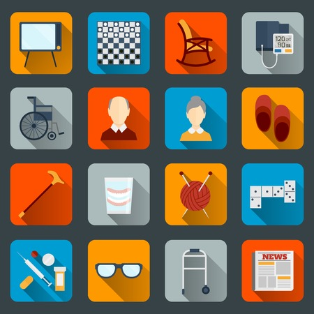 cane chair: Pensioners life flat icons set of tv checkers rocking chair isolated vector illustration