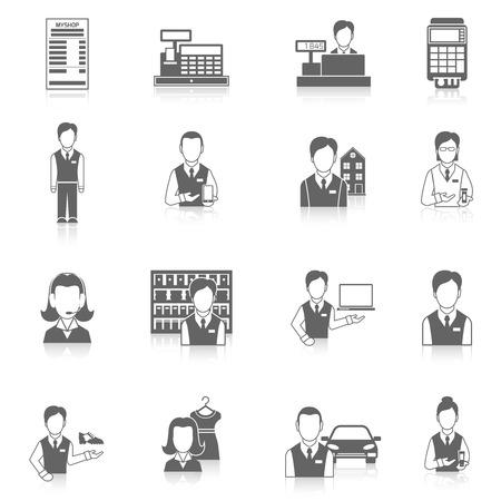 Salesman marketing business icons black set isolated vector illustration