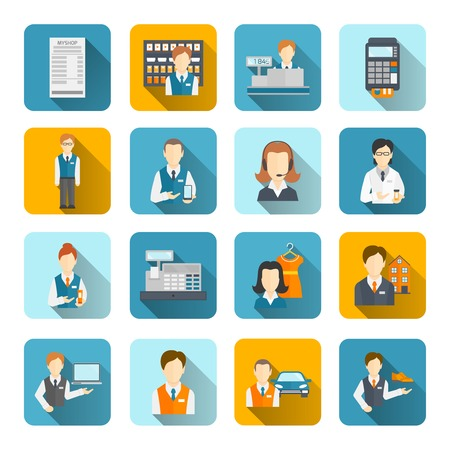salesman: Salesman icons flat set isolated with beauty assistant shopman shoes seller isolated vector illustration Illustration