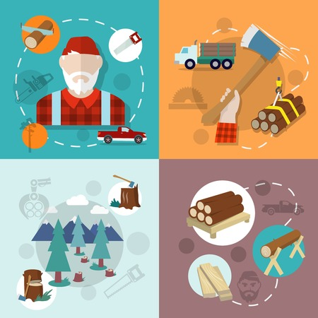 timber cutting: Lumberjack woodcutter flat composition icons set isolated vector illustration