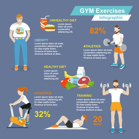 body woman: Gym sport exercises fitness and healthy lifestyle infographic set vector illustration