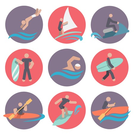 internet surfing: Water sports flat icons set with jumping sailing jetskiing isolated vector illustration Illustration